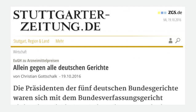 """Als eine """"Kriegserklärung gegen die gesamte deutsche Justiz"""" bezeichnet die """"Stuttgarter Zeitung"""" die Luxemburger Entscheidung. Denn der EuGH stellt sich mit seinem Urteil immerhin gegen den Gemeinsamen Senat der obersten Bundesgerichte – """"mehr Rechtskompetenz ist in Deutschland nur selten in einem Raum versammelt."""" Auch das Oberlandesgericht Düsseldorf, das den Fall dem EuGH vorlegte, bekommt sein Fett weg: """"Ohne das OLG aus der Altbierstadt sei der Fall niemals in Luxemburg gelandet"""", habe Generalanwalt Szpunar sich bei den Düsseldorfern bedankt. Die EuGH-Richter hätten dann, indem sie Szpunars Schlussanträgen folgten, die Apotheker-Argumente in ihr Gegenteil verkehrt."""