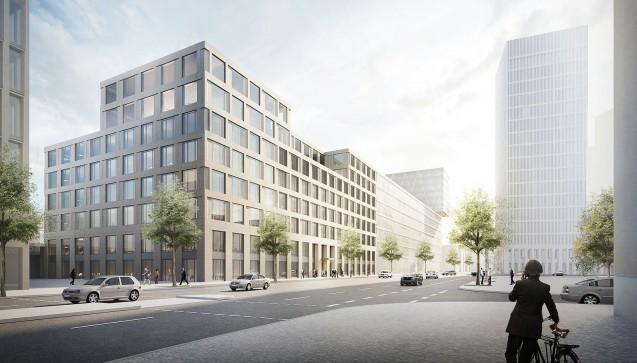 Bis zu 35 Millionen Euro soll das neue Apothekerhaus hinter dem Berliner Hauptbahnhof kosten. In der vergangenen Woche fand auf dem Grundstück der Spatenstich mit der ABDA-Spitze statt. Derzeit arbeitet die ABDA übergangsweise in einer Büroetage in der Nähe des Brandenburger Tors. (Foto: CA Immobilien)