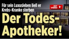 """Auf der Titelseite des Boulevardblatts""""Bild"""" ist auch ein Foto des Zyto-Apothekers abgedruckt, im begleitenden Video ist das Gesicht jedoch unkenntlich gemacht. (Screenshot: DAZ.online)"""
