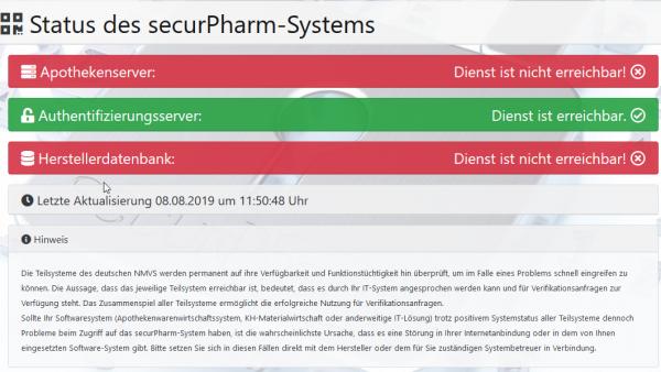Securpharm-Server wieder nicht erreichbar