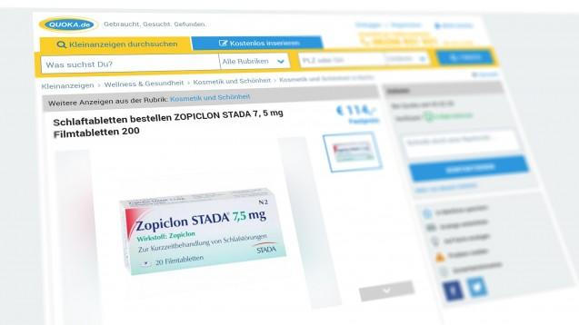 """Der Verein """"Freie Apothekerschaft"""" hat wegen Beihilfe zum Verstoß gegen das Arzneimittelgesetz Anzeige gegen das Unternehmen Quoka erstattet, da er auf der Online-Plattform Angebote über rezeptpflichtige Schlafmittel gefunden hatte. (s / Screenshot: Quoka.de)"""