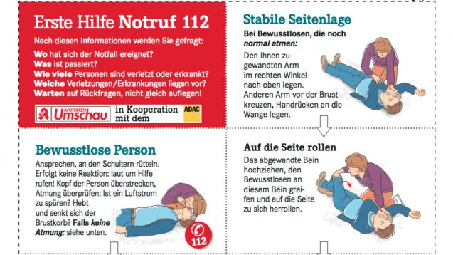 Ein Faltblatt zur Ersten Hilfe haben Apotheken Umschau und ADAC gemeinsam entworfen. (Foto: Screenshot DAZ.online)
