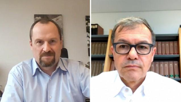 Morton Douglas (l.) und Rainer Eckert erklärten im Gespräch mit DAZ-Chefredakteuer Armin Edalat, was die von der AvP-Insolvenz betroffenen Apotheken jetzt erwartet. (c / Screenshot: DAZ.online)