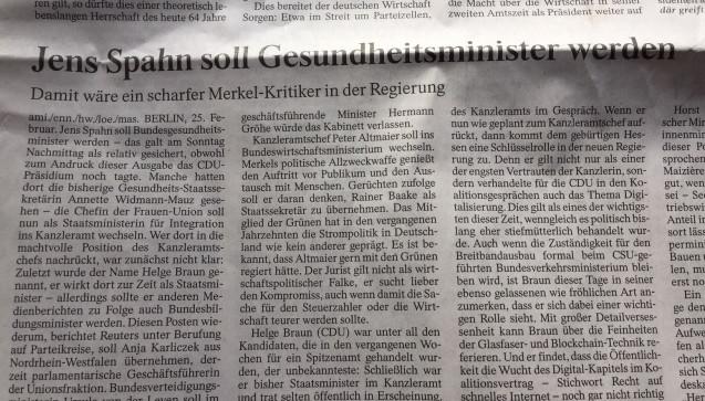 """Mit Spahn wäre """"ein scharfer Merkel-Kritiker"""" im Kabinett, schreibt die FAZ. (Foto: jb / DAZ.online)"""