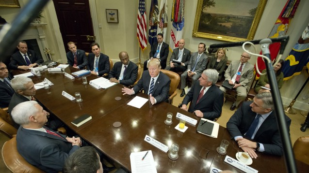 Trump rief und alle kamen: Der neue US-Präsident im Gespräch mit den Chefs von Merck, Eli Lilly, Celgene, Johnson & Johnson, Amgen, Novartis unddes größten US-PharmaverbandesPhRMA. (Foto: dpa)