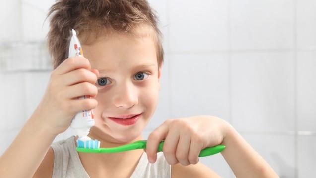 Altersgerechte Zahnpflege: Kinderzahnpasta enthält weniger Fluorid. (Foto: sabine hürdler / Fotolia)