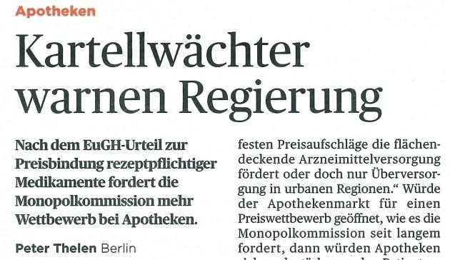 """Im """"Handelsblatt"""" vom 21. Oktober wird über einen Vorschlag des Chefs der Monopolkommission, Achim Wambach, berichtet. Wambach möchte – wie von der Monopolkommission schon lange gefordert –die """"starren deutschen Handelsspannen"""" abschaffen und durch eine """"Servicepauschale"""" ersetzen, """"über deren Höhe der Apotheker in einem vorgegebenem Rahmen selbst entscheidet."""" Bezahlen soll sie der Versicherte, statt der Zuzahlung. Die Kassen würden nur noch den Herstellerabgabepreis erstatten. """"So entstünden Anreize für Verbraucher, die Apotheke nach Preis und Servicequalität auszuwählen"""", meint das Handelsblatt."""