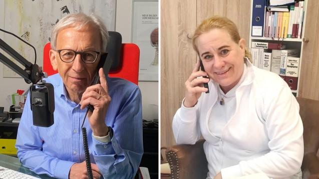 Peter Ditzel spricht mit Apothekerin Doris-Maria Schropp, die sich gegen Querdenker vor ihrer Apotheke wehren musste. (Fotos: privat)