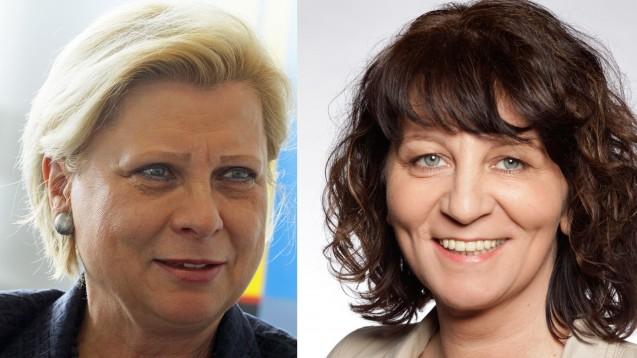 Hilde Mattheis und Martina Stamm-Fibich wollen den Pharma-Dialog abwarten, ehe sie Versprechen abgeben. (Foto: Sket/Knoll, Montage: DAZ)