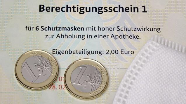"""Die 2 Euro Eigenbeteiligung, die Risikogruppen für ihre """"Spahn-Masken"""" leisten müssen, sind aus Sicht des LG Düsseldorf auch wirklich zu entrichten. (x / Foto: IMAGO / Steinach)"""
