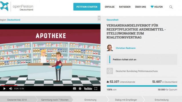 Das Quorum zwar erreicht, aber zufrieden ist Initiator Christian Redmann nicht. (Foto: Screenshot openPetition)
