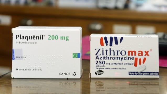 Hydroxychloroquin und Azithromycin: Der experimentelle Arzneimitteleinsatz im Rahmen einer COVID-19-Infektion bietet nicht nur Hoffnung sondern auch viel Grund zur Vorsicht, vor allem wenn zwei Arzneimittel miteinander kombiniert werden, die beide zu kardialen Nebenwirkungen führen können. (Foto: picture alliance / abaca)
