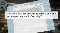 """""""... sieben pro Tag pro Geschäft. Jeden Tag!"""" Kanadische Apothekenketten setzen ihre Angestellten mit Zielvorgaben unter Druck. (Screenshot: CBCnews/DAZ)"""