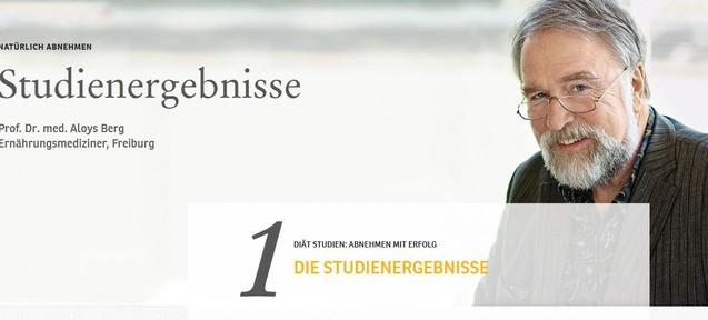 Der Arzt Aloys Berg wirbt nach wie vor auf der Almased-Webseite. (Screenshot: www.almased.de)