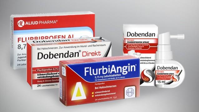 Vorsicht bei flurbiprofenhaltigen Halsschmerzpräparaten und Allergikern. (Foto: Aliud Pharma / Hexal / Reckitt Benckiser / DAZ.online)