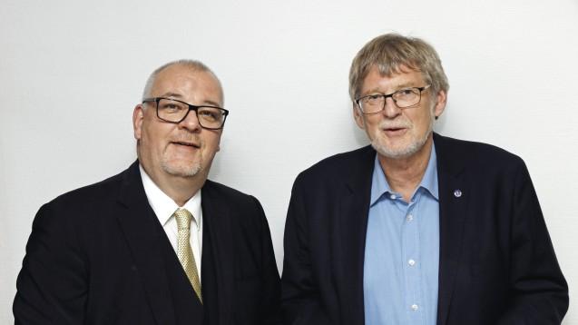 Die Kammerpräsidenten der Apotheker und Ärzte in Brandenburg, Jens Dobbert (links) und Frank-Ulrich Schulz, sehen die Fusion von Zur Rose und Teleclinic kritisch. (Foto: LAK)