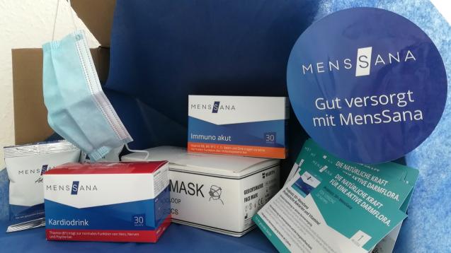 Der baden-württembergische OTC-Anbieter Menssana hat seinen Partnerapotheken Pakete geschickt, in denen unter anderem Masken an die Apotheken verschenkt wurden. (Foto: Menssana)