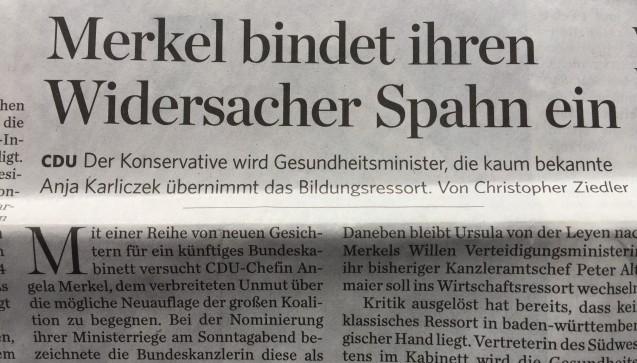 """""""Widersacher Spahn"""" schreibt die Stuttgarter Zeitung. (Foto: jb / DAZ.online)"""