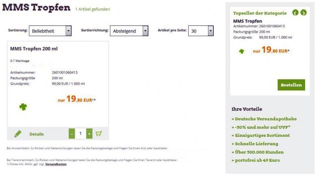 MMS-Tropfen im online-Shop einer deutschen Versandapotheke (Bild: screenshot/DAZ)