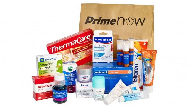 So könnte der Inhalt einer Bestellung aussehen. Lieferbar sind für die Münchner Prime Now-Kunden nicht verschreibungspflichtige Arzneimittel und andere Apotheken-Artikel wie Nahrungsergänzungsmittel oder Pflaster. (Fotos: Amazon)