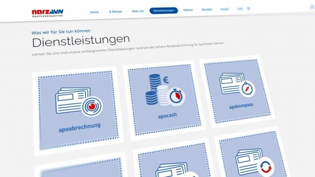 Nach der AvP-Insolvenz bieten jetzt andere Apothekenrechenzentren wie NARZ und Noventi Hilfe an. (Screenshot: narz-avn.de)