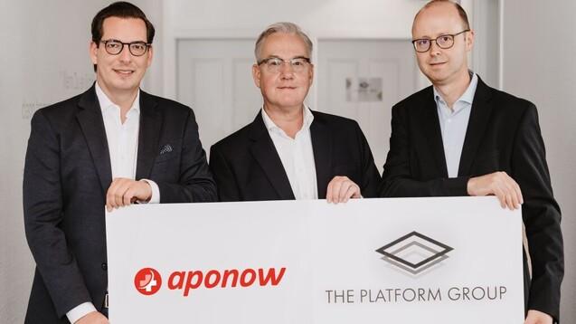"ApoNow gehört nun zur ""Platform Group""; v.l.n.r.: Dominik Benner (The Platform Group), Thomas Engels (ApoNoW), Silvio Schnabel (ApoNow). (x / Quelle: The Platform Group)"