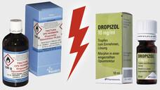 Ist abgefüllte Opiumtinktur ein zulassungspflichtiges Fertigarzneimittel? (Quellen: Maros Arznei / Screenshotwww.innocur.de / DAZ)