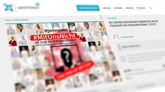 Studierende pro Rx-Versandverbot machen in den sozialen Netzwerken mobil. ( j / Screenshot: openpetition.de | Bild: Bühler)