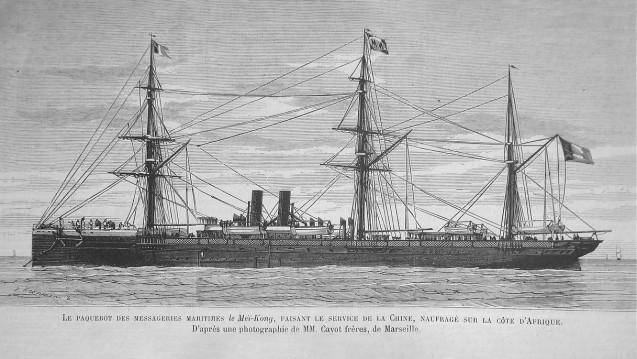 Der Dampfer Meï-Kong, in Betrieb von 1870 bis 1877, hier auf einer Illustration unbekannten Datums (nach einer Fotographie der Gebrüder Cayot – Marseille).