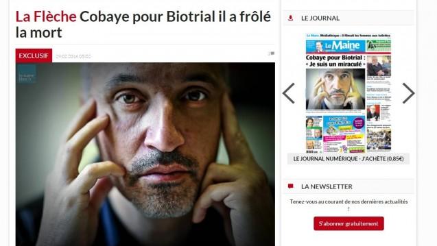 """Der erste Proband von der Phase-I-Studie in Rennes sprach mit der Tageszeitung """"Le Maine libre"""". (Screenshot)"""