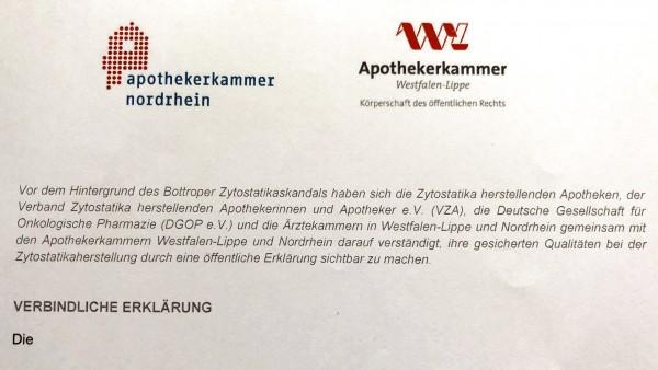 Selbstverpflichtung der Zyto-Apotheker in NRW soll für mehr Transparenz sorgen
