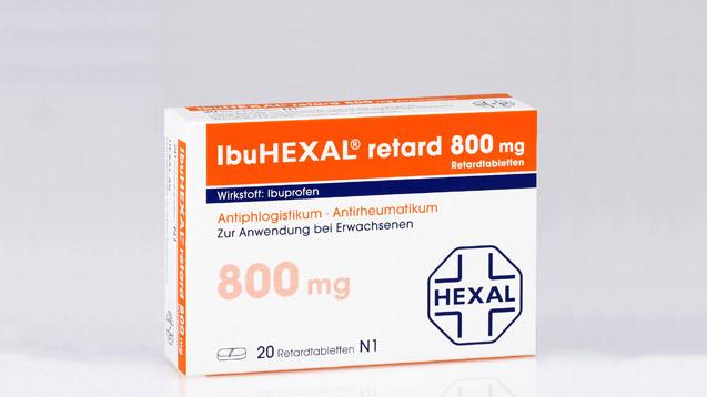 Hexal ruft zwei Chargen Ibuhexal 800 retard zurück. Die abgebildete 20er Packung ist jedoch nicht mehr im Handel. (Foto. Hexal)