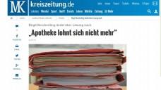 Die Lokalzeitung hatte bereits letztes Jahr von dem drohenden Aus für die Apotheke berichtet. (Foto: Screenshot / DAZ)