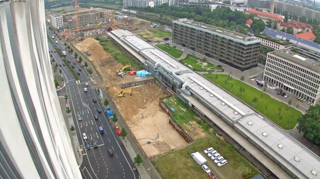 Der Webcam-Blick auf die Baustelle des neuen Apotheker-Hauses am 7. Juli 2017. (Foto: www.abda.de)