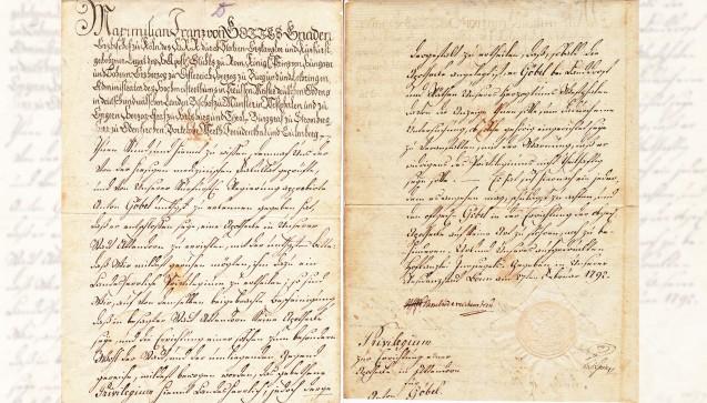 """""""Das Apothekenprivileg"""" – Die Gründungsurkunde der Löwen Apotheke vom 27. Februar 1792 mit Unterschrift und Siegel der kurfürstlichen Hofkanzlei."""