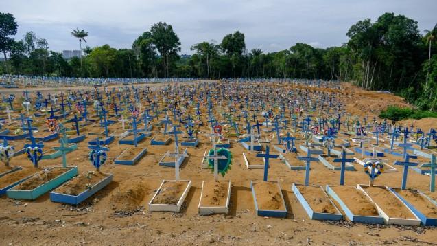 Brasilien ist eines der am stärksten von der Pandemie betroffenen Länder mit bis 11. Dezember 2020 insgesamt 6.781.799 bestätigten Fällen und 179.765 Todesfällen. Die Region Amazonas mit ihrer Regionalhauptstadt Manaus ist innerhalb Brasiliens der am stärksten von COVID-19 betroffene Bereich.(Foto: imago images / Fotoarena)