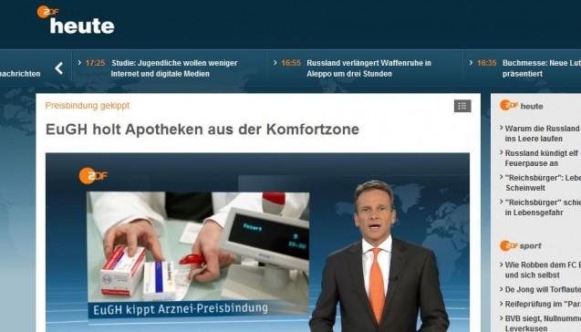 """Bei der Nachrichtensendung """"heute"""" im ZDF war man tagsüber ganz auf der EuGH- und DocMorris-Linie. Ein Parkinson-Patient darf jubeln, dass er im Versandhandel mehrere hundert Euro pro Jahr spare (übrigens im Präsens, nicht im Futur!), im Hintergrund erkennt man die grüne DocMorris-Website. Und auch DocMorris-Chefapotheker Christian Franken kommt ausführlich zu Wort: Das Urteil bedeute """"ganz konkret, dass die Patienten auch wieder in Zukunft bei der Versandapotheke DocMorris auf Rezept Geld sparen können"""". Dass die Preisbindung auch Ausschläge nach oben verhindert, wird zwar erwähnt – die Argumente der Apotheker aber weitgehend ignoriert."""