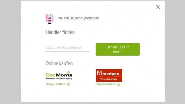 Direkt von der Weleda-Homepage auf die DocMorris-Webseite – das gefälllt vielen Apothekern gar nicht. (Screenshot: Weleda / DAZ.online)