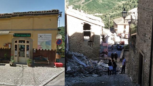 Auf dem linken Foto ist die Apotheke von Francesco Nigro noch unbeschädigt. Nach dem Erdbeben in Mittelitalien ist sie nicht mehr betretbar. Nigro versorgt die gesamte Region. (Foto: Google   dpa )