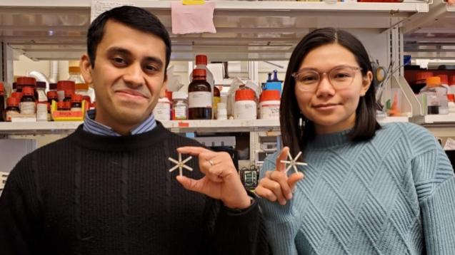 Ameya Kirtane und Tiffany Hua, Forscher vom Massachusetts Institute of Technology (MIT) in Cambridge (USA), entwickeln derzeit zusammen mit Wissenschaftlern aus Boston und Los Angeles ein orales Kontrazeptivum, das nur einmal im Monat eingenommen werden muss. (c / Foto: MIT/Tiffany Hua)