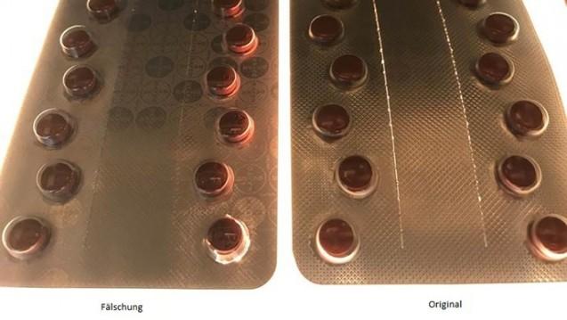 Keine oder nur eine schwache Perforation und deutlichere Bayer-Logo-Blisterdrucke: Diese beiden Merkmale zeigten die in Großbritannien gefundenen Xarelto 20 mg-Fälschungen. ( r / Foto: BfArM)