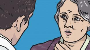 Eine Patientin mit Migräne